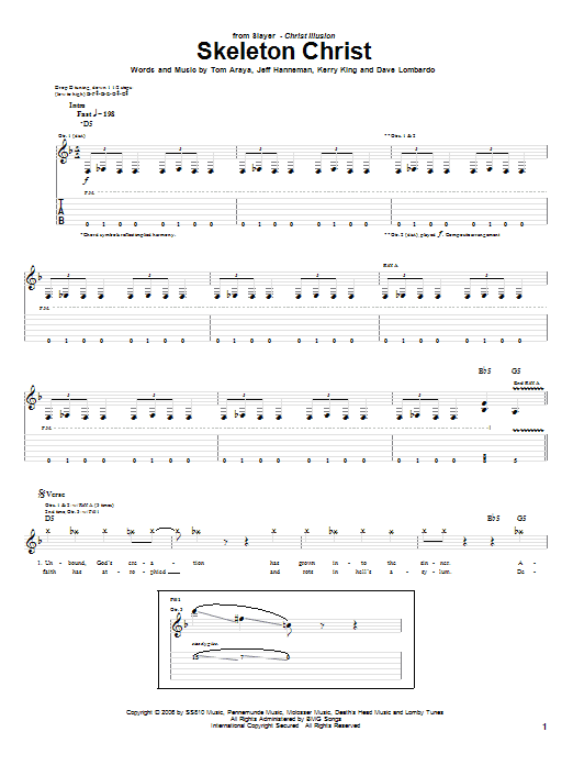 Skeleton Christ sheet music for guitar solo (tablature) by Tom Araya