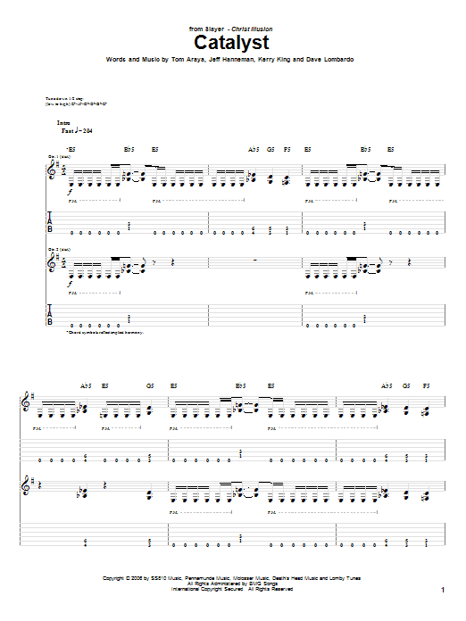 Catalyst sheet music for guitar solo (tablature) by Tom Araya