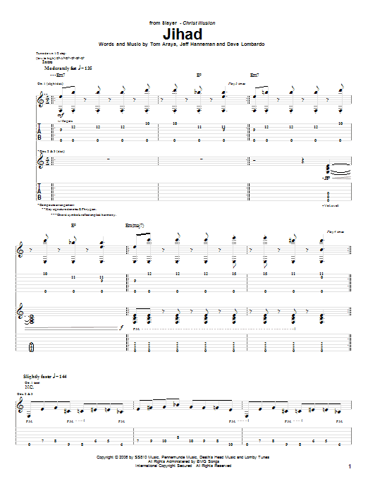 Jihad sheet music for guitar solo (tablature) by Tom Araya