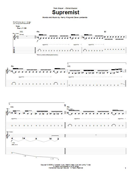 Tablature guitare Supremist de Slayer - Tablature Guitare