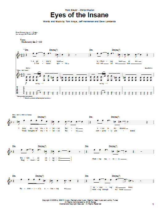 Eyes Of The Insane sheet music for guitar solo (tablature) by Tom Araya