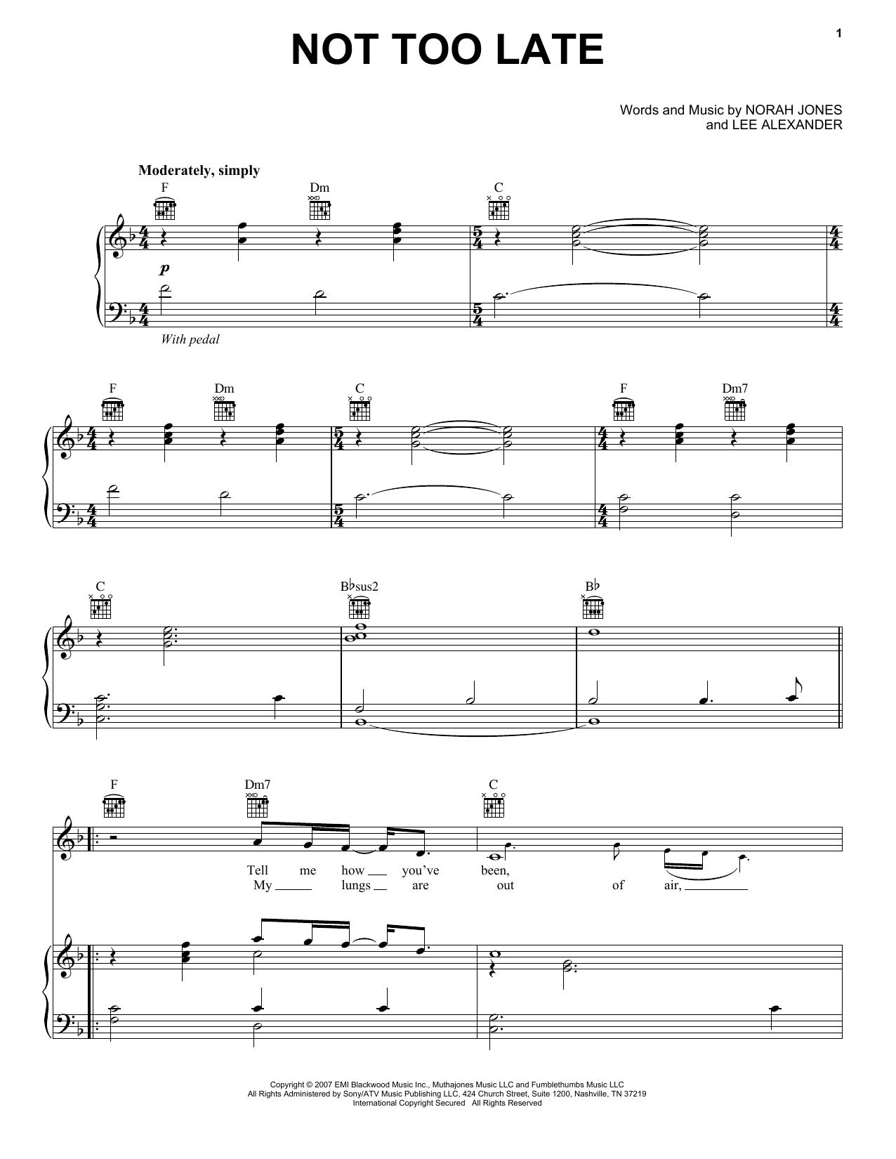Not Too Late sheet music for voice, piano or guitar by Lee Alexander