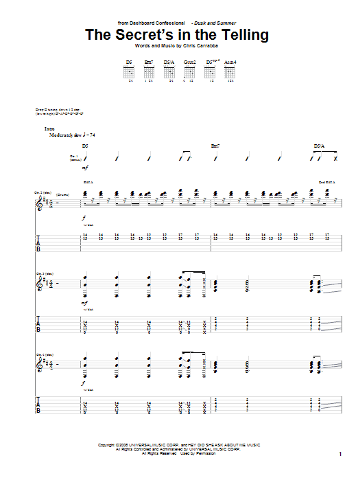 Tablature guitare The Secret's In The Telling de Dashboard Confessional - Tablature Guitare