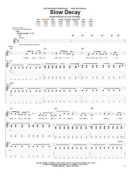 Tablature guitare Slow Decay de Dashboard Confessional - Tablature Guitare