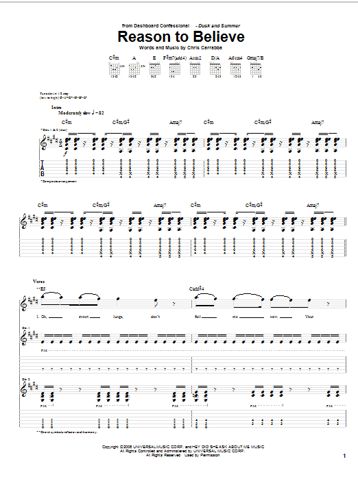 Tablature guitare Reason To Believe de Dashboard Confessional - Tablature Guitare
