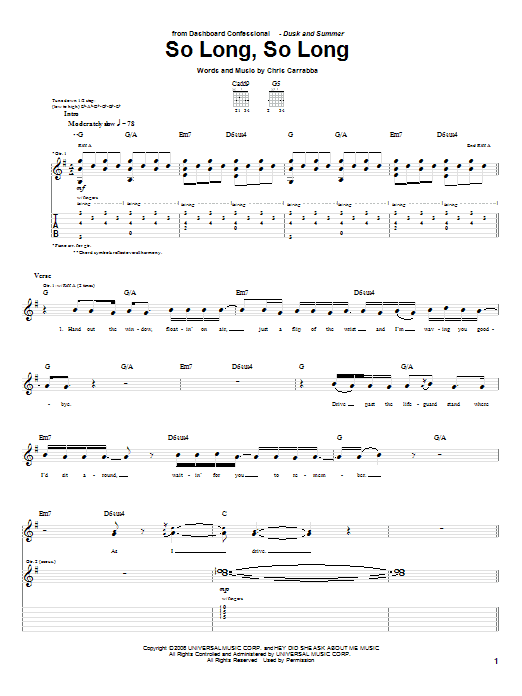 Tablature guitare So Long, So Long de Dashboard Confessional - Tablature Guitare