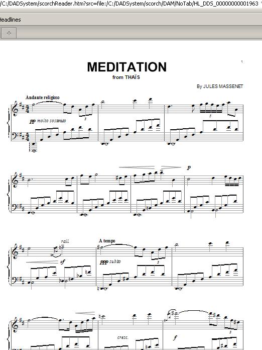 Partition piano Meditation de Jules Massenet - Piano Solo