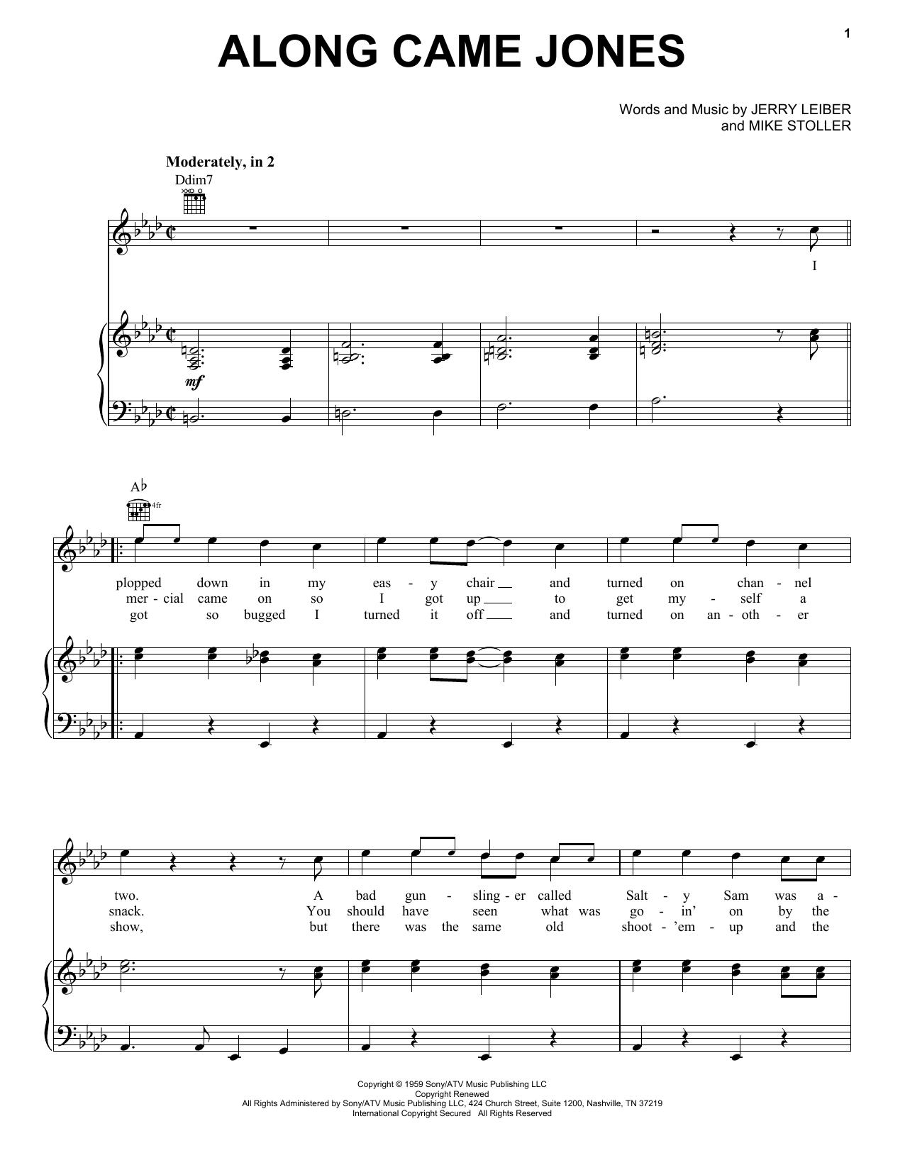 Partition piano Along Came Jones de The Coasters - Piano Voix Guitare (Mélodie Main Droite)