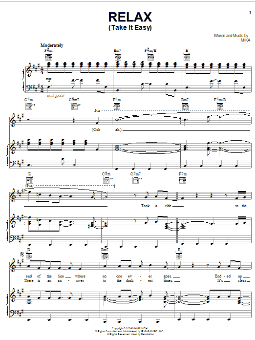 Relax Take It Easy Partition Par Mika Piano Chant Et