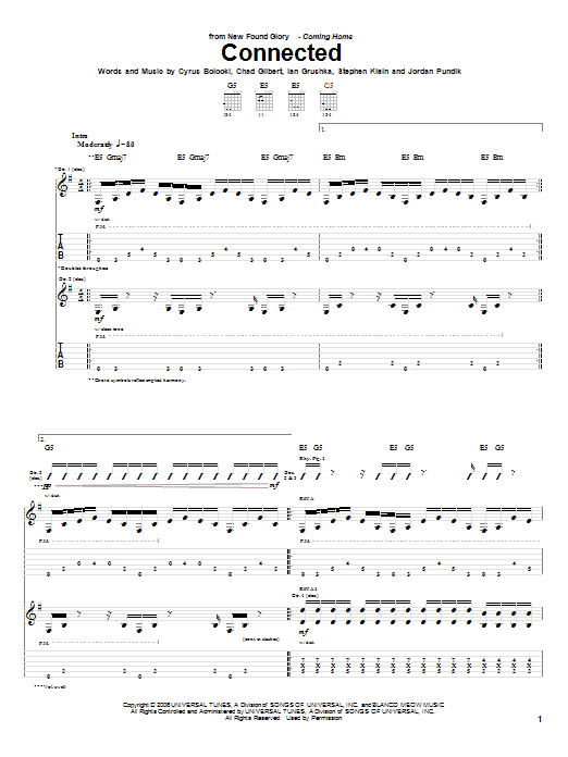 Tablature guitare Connected de New Found Glory - Tablature Guitare