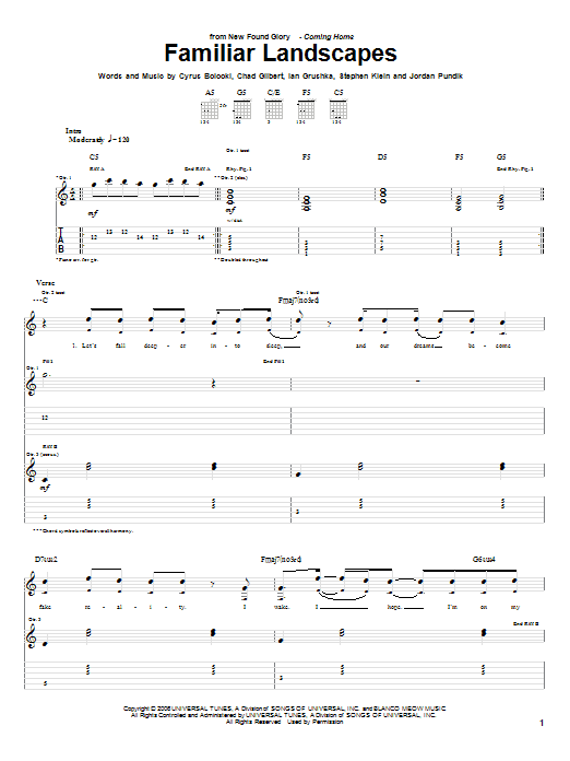 Tablature guitare Familiar Landscapes de New Found Glory - Tablature Guitare