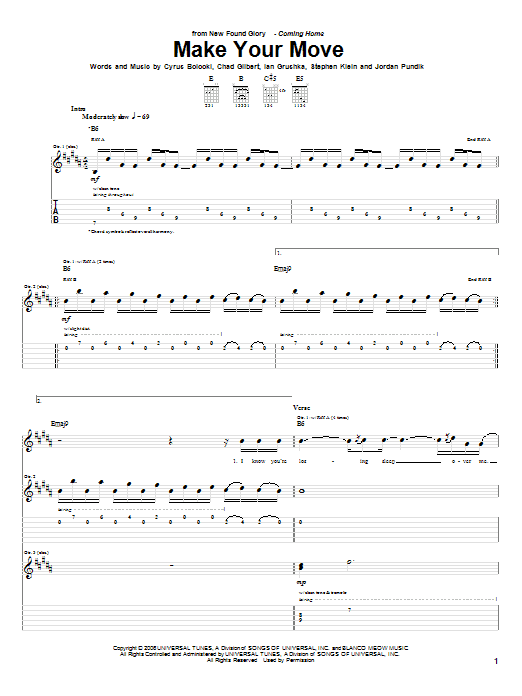 Make Your Move sheet music for guitar solo (tablature) by Steve Klein