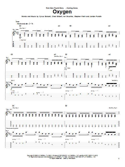 Tablature guitare Oxygen de New Found Glory - Tablature Guitare