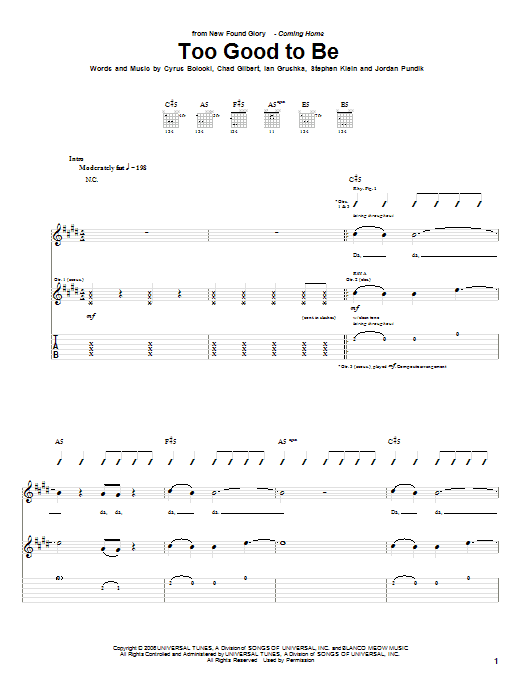 Tablature guitare Too Good To Be de New Found Glory - Tablature Guitare