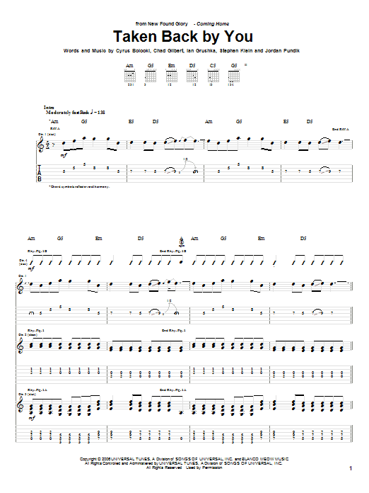 Tablature guitare Taken Back By You de New Found Glory - Tablature Guitare
