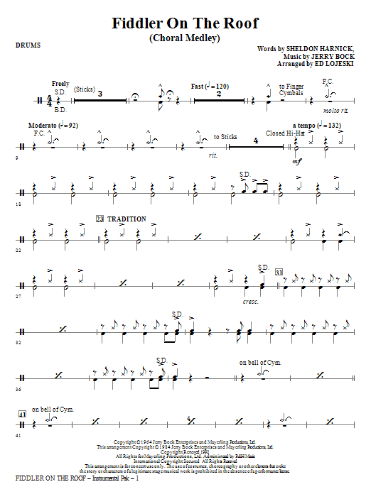Fiddler On The Roof Choral Medley Drums Sheet Music