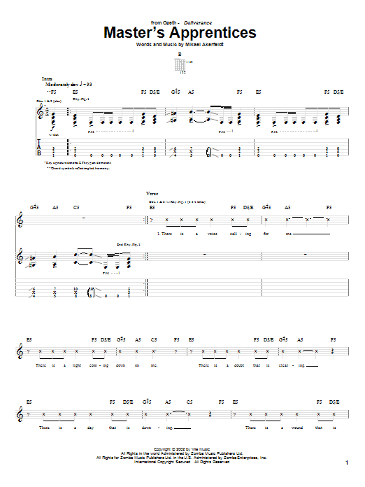 Master's Apprentices sheet music for guitar solo (tablature) by Mikael Akerfeldt