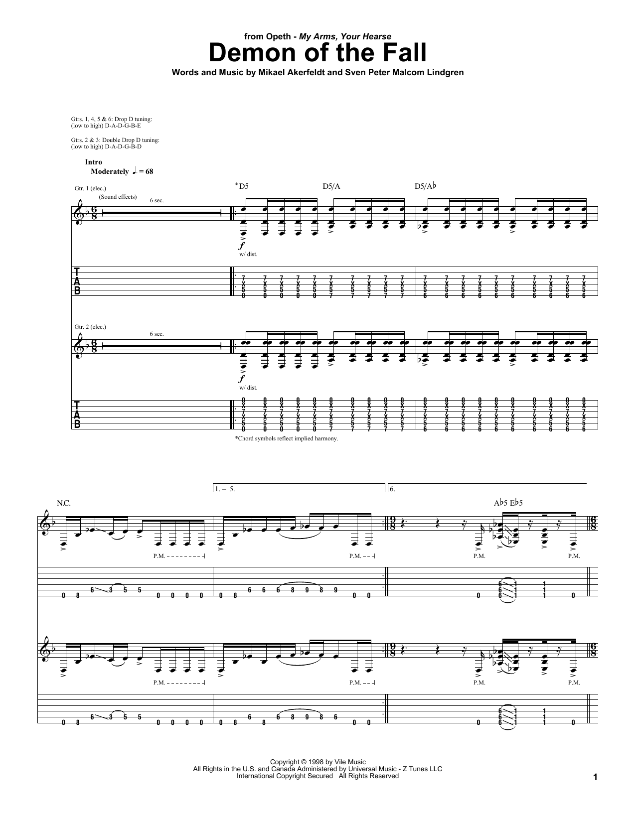 Demon Of The Fall sheet music for guitar solo (tablature) by Sven Peter Malcom Lindgren
