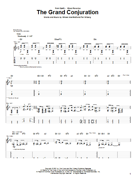 The Grand Conjuration sheet music for guitar solo (tablature) by Per Wiberg