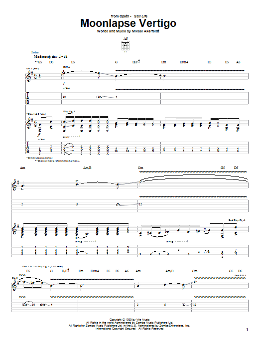 Moonlapse Vertigo sheet music for guitar solo (tablature) by Mikael Akerfeldt