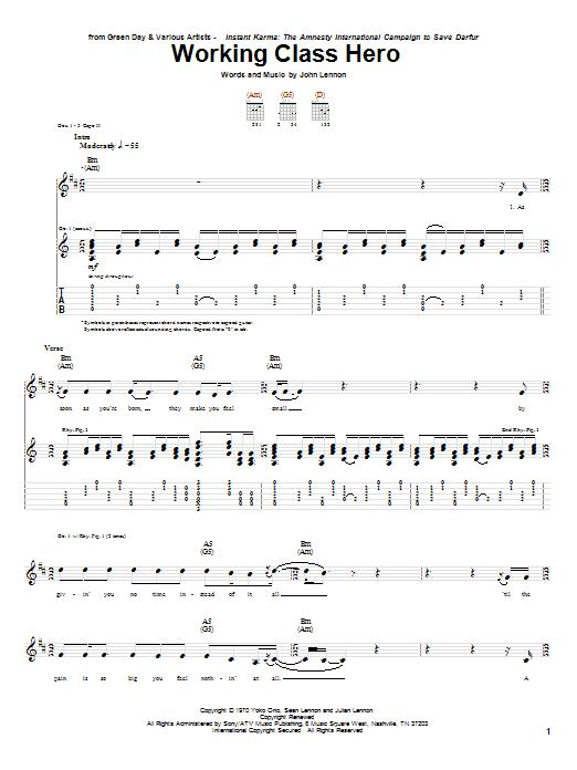 Tablature guitare Working Class Hero de Green Day - Tablature Guitare