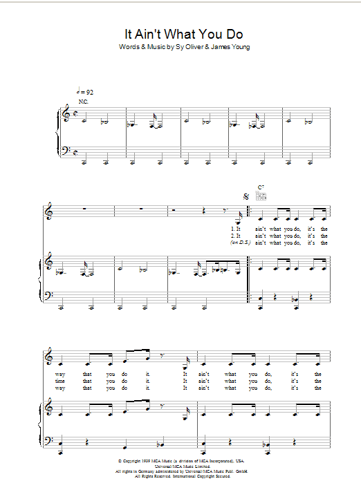 It Ain't What You Do sheet music for voice, piano or guitar by James Young
