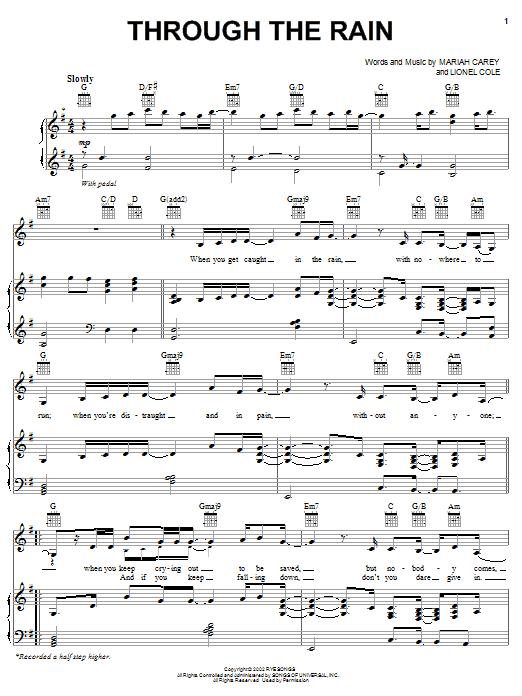 Through The Rain | Sheet Music Direct Mariah Carey Chords