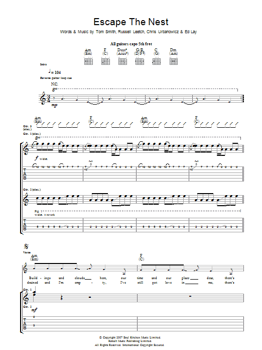 Escape The Nest sheet music for guitar solo (tablature) by Chris Urbanowicz