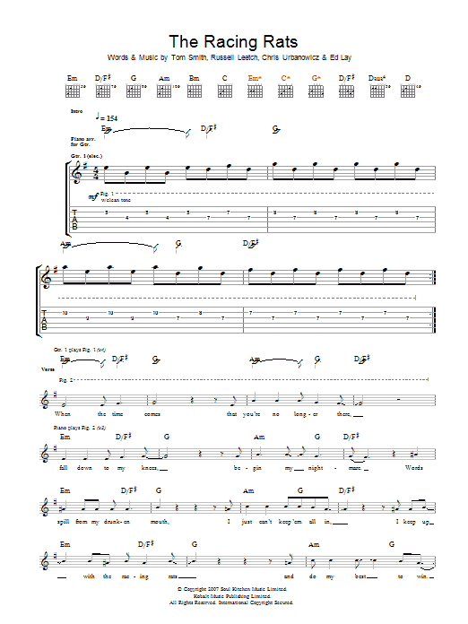 The Racing Rats sheet music for guitar solo (tablature) by Chris Urbanowicz