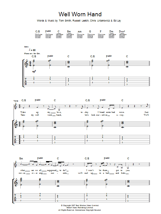 Well Worn Hand sheet music for guitar solo (tablature) by Chris Urbanowicz