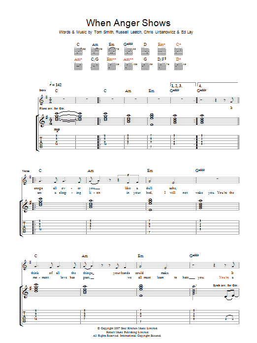 When Anger Shows sheet music for guitar solo (tablature) by Chris Urbanowicz