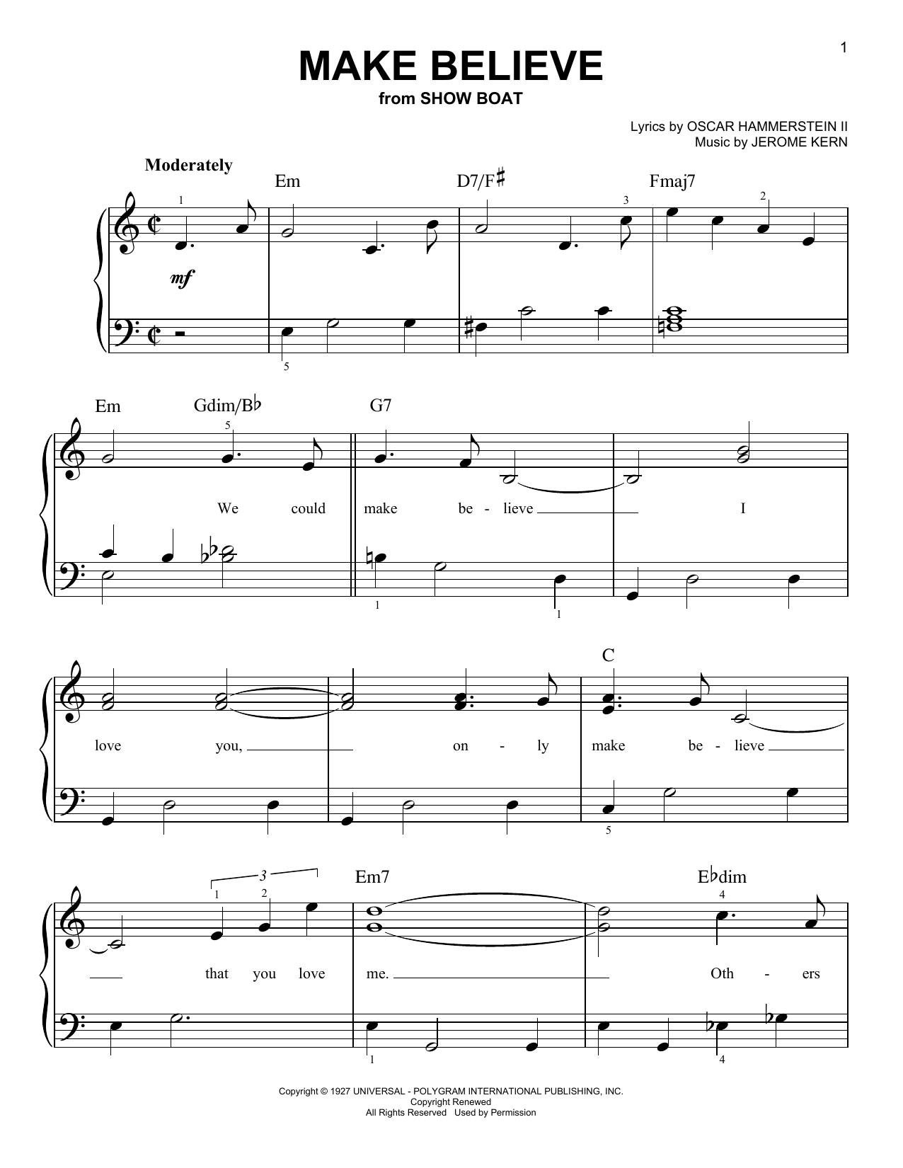 Partition piano Make Believe de Jerome Kern - Piano Facile