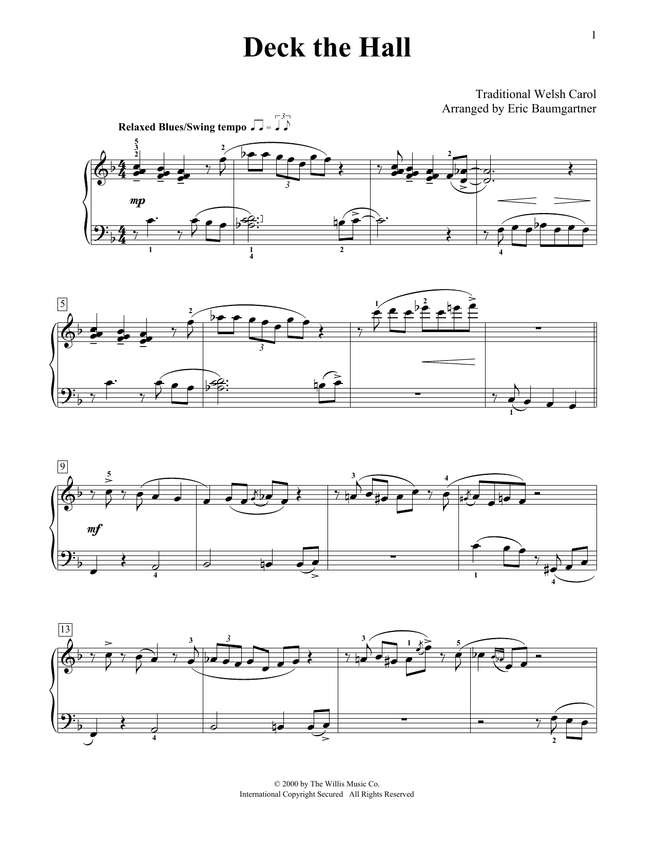 Partition piano Deck The Halls de Eric Baumgartner - Piano Facile