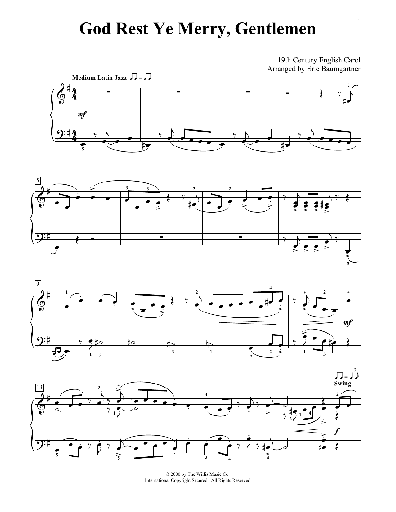 Partition piano God Rest Ye Merry, Gentlemen de Christmas Carol - Piano Facile