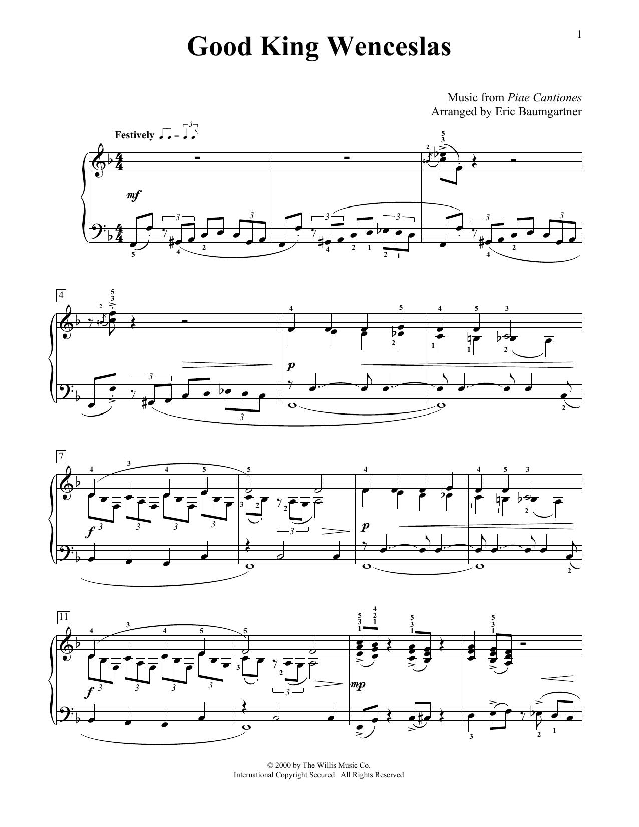 Partition piano Good King Wenceslas de Eric Baumgartner - Piano Facile
