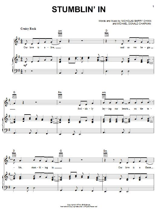 Partition piano Stumblin' In de Suzi Quatro - Piano Voix Guitare (Mélodie Main Droite)