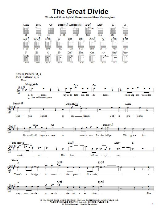 Tablature guitare The Great Divide de Point Of Grace - Tablature guitare facile