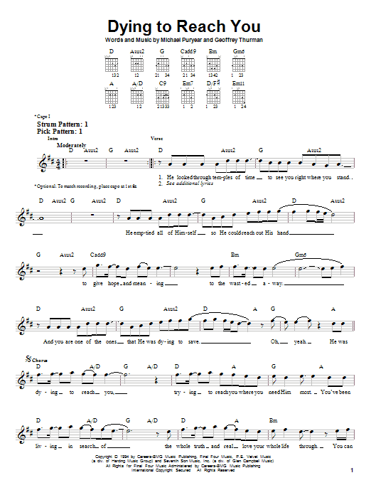 Tablature guitare Dying To Reach You de Point Of Grace - Tablature guitare facile