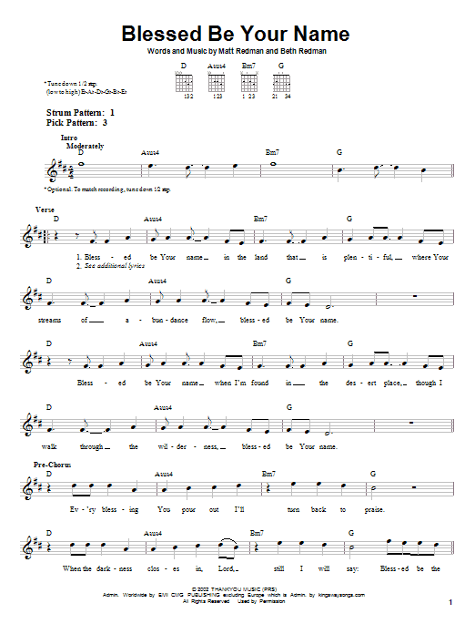 Blessed Be Your Name : Sheet Music Direct