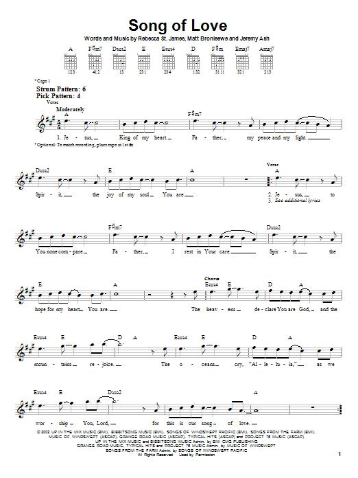 Tablature guitare Song Of Love de Rebecca St. James - Tablature guitare facile