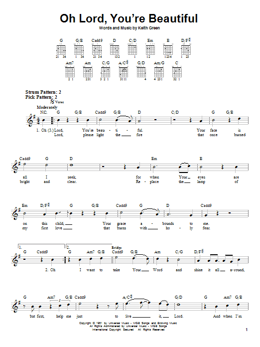Tablature guitare Oh Lord, You're Beautiful de Keith Green - Tablature guitare facile
