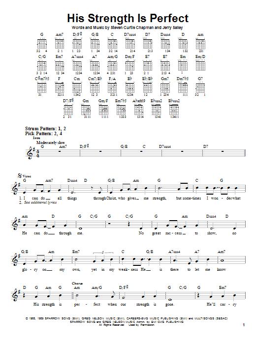 Tablature guitare His Strength Is Perfect de Steven Curtis Chapman - Tablature guitare facile