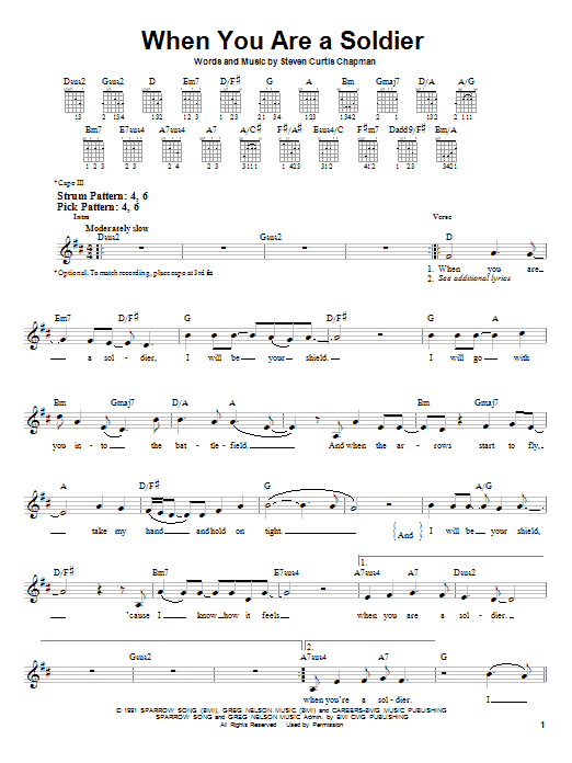 Tablature guitare When You Are A Soldier de Steven Curtis Chapman - Tablature guitare facile