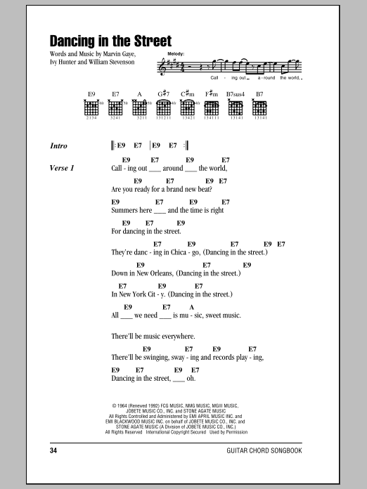 Dancing In The Street sheet music for guitar (chords, lyrics, melody) by William Stevenson