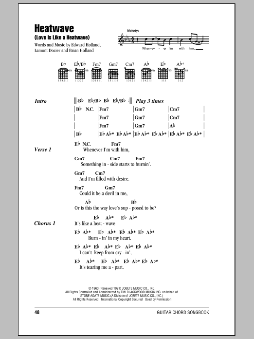 Heatwave (Love Is Like A Heatwave) sheet music for guitar (chords, lyrics, melody) by Lamont Dozier