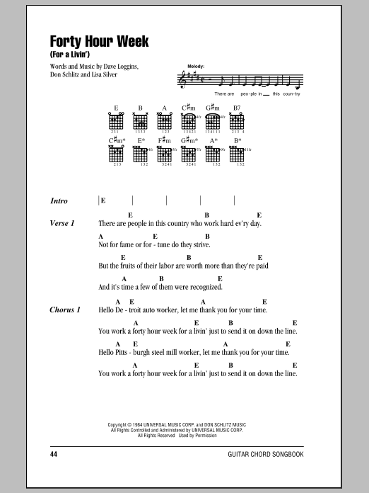Forty Hour Week (For A Livin') sheet music for guitar solo (chords, lyrics, melody) by Lisa Silver