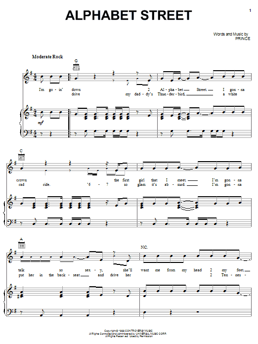 Partition piano Alphabet Street de Prince - Piano Voix Guitare (Mélodie Main Droite)