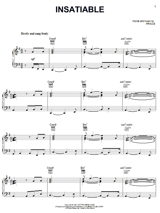 Partition piano Insatiable de Prince - Piano Voix Guitare (Mélodie Main Droite)