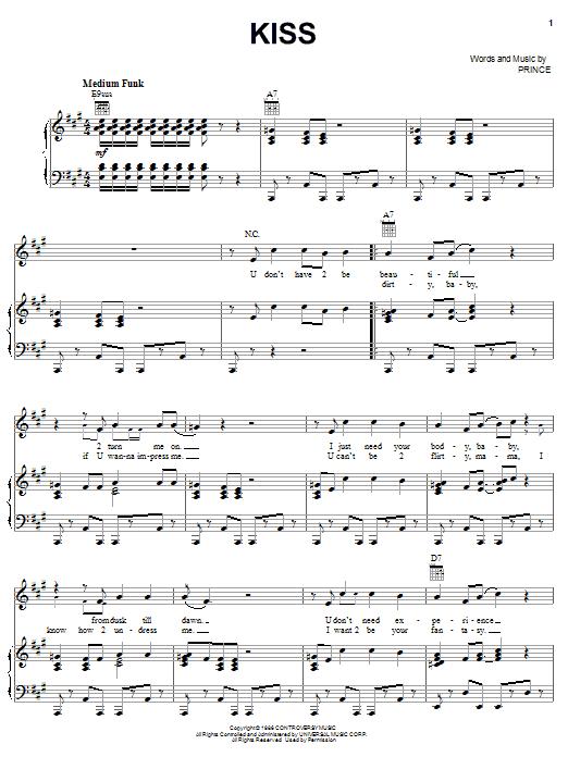 Partition piano Kiss de Prince - Piano Voix Guitare (Mélodie Main Droite)