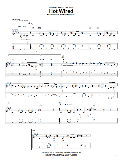 Hot Wired sheet music for guitar solo (tablature) by Paul Hollowell